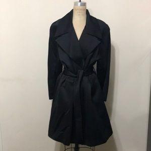 Patra black satin evening coat jacket